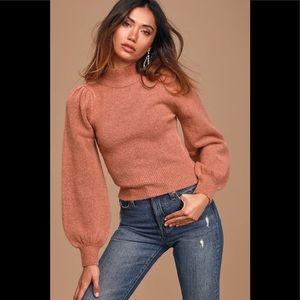Rose mock neck puffy shoulder sleeve sweater XS